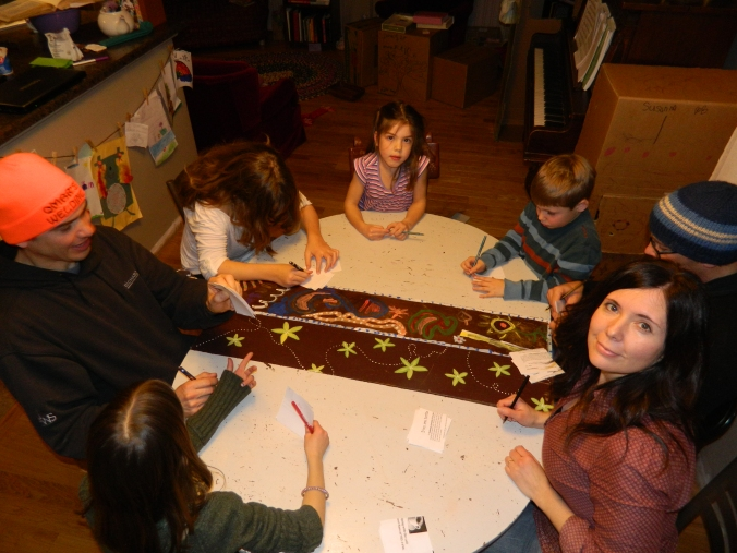 friends and a rip-roaring game of telephone pictionary