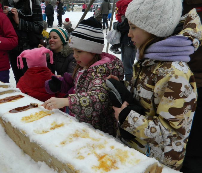 "Our THIRD time eating ""tiré""--globs of chilled maple syrup--this season"