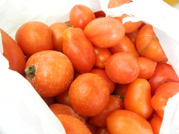 Frozen tomatoes, ready to be peeled (with the help of hot water).