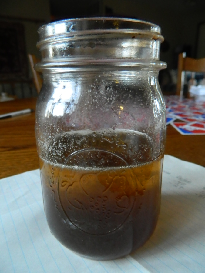 The final product! We actually got a full pint jar; our sap to syrup ratio was about 50:1