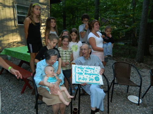 Abe and Ruth with their great-grandchildren
